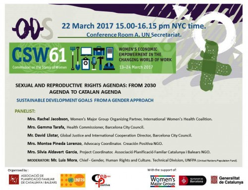 """CSW 61 Side Events: """"Sexual and Reproductive Rights Agendas, from 2030 Agenda to Catalan Agenda"""""""
